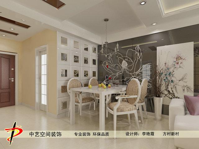 方村新村小区餐厅吊顶背景墙装修设计效果